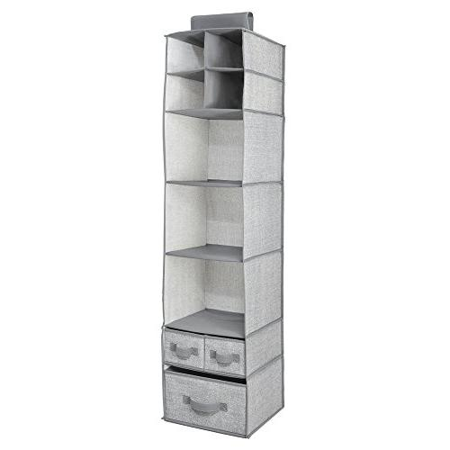 mDesign Fabric Closet Organizer and Removable for or Nursery Textured -