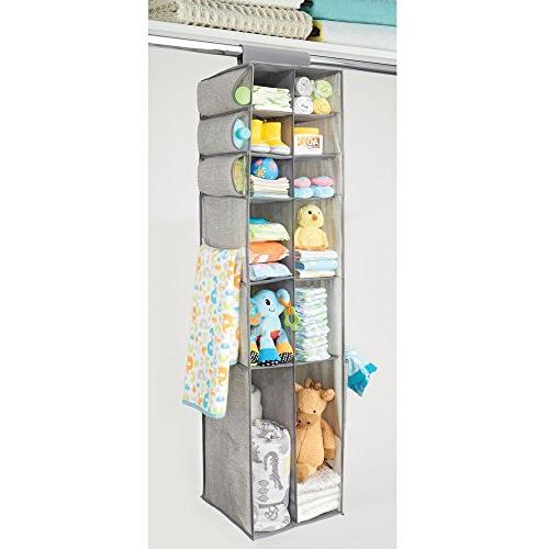 mDesign Over Hanging Storage with Divided Shelves, Side for Room Nursery - Textured - Gray