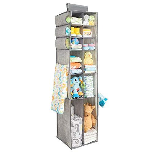 mDesign Over Storage Organizer with Divided Side Pockets for Child/Kids or Nursery - Gray