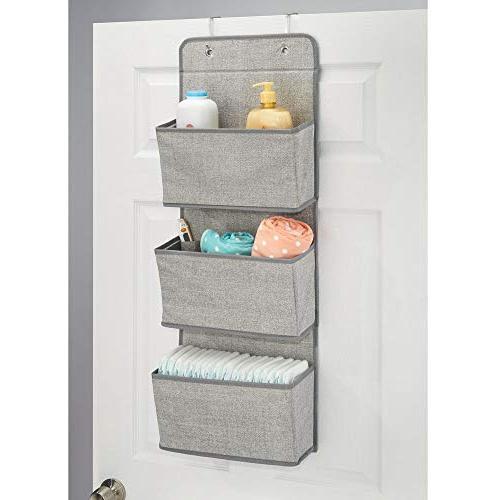 mDesign Wall Organizer 3 Pockets or Nursery, - Gray