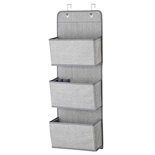 mDesign Wall Mount/Over Organizer 3 or Nursery, Hooks - Textured Print - Gray