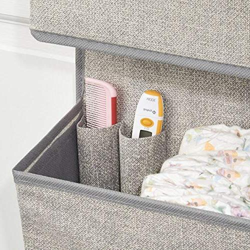 mDesign Soft Mount/Over Organizer - Large Pockets or Nursery, Hooks Included Gray