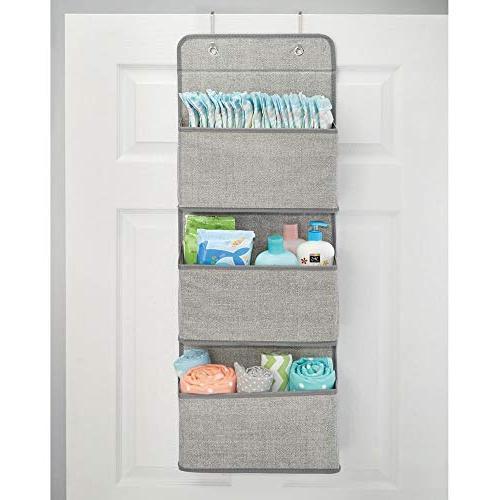 mDesign Mount/Over Hanging Storage Organizer Pockets Child/Kids Room or - Textured Gray