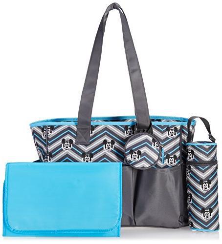 Disney Mickey Mouse Pocket Piece Diaper Bag Chevron Grey/Blue