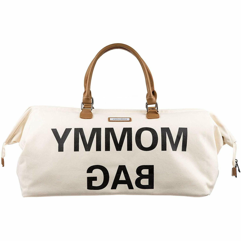 mommy bag stylish chic canvas off white