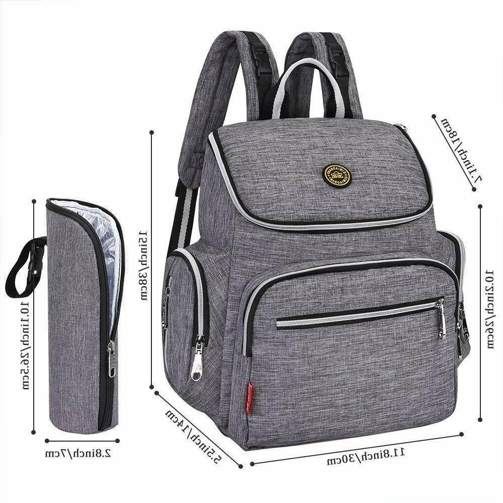 Multi-Function Diaper Bag Backpack with Pad and Insulated