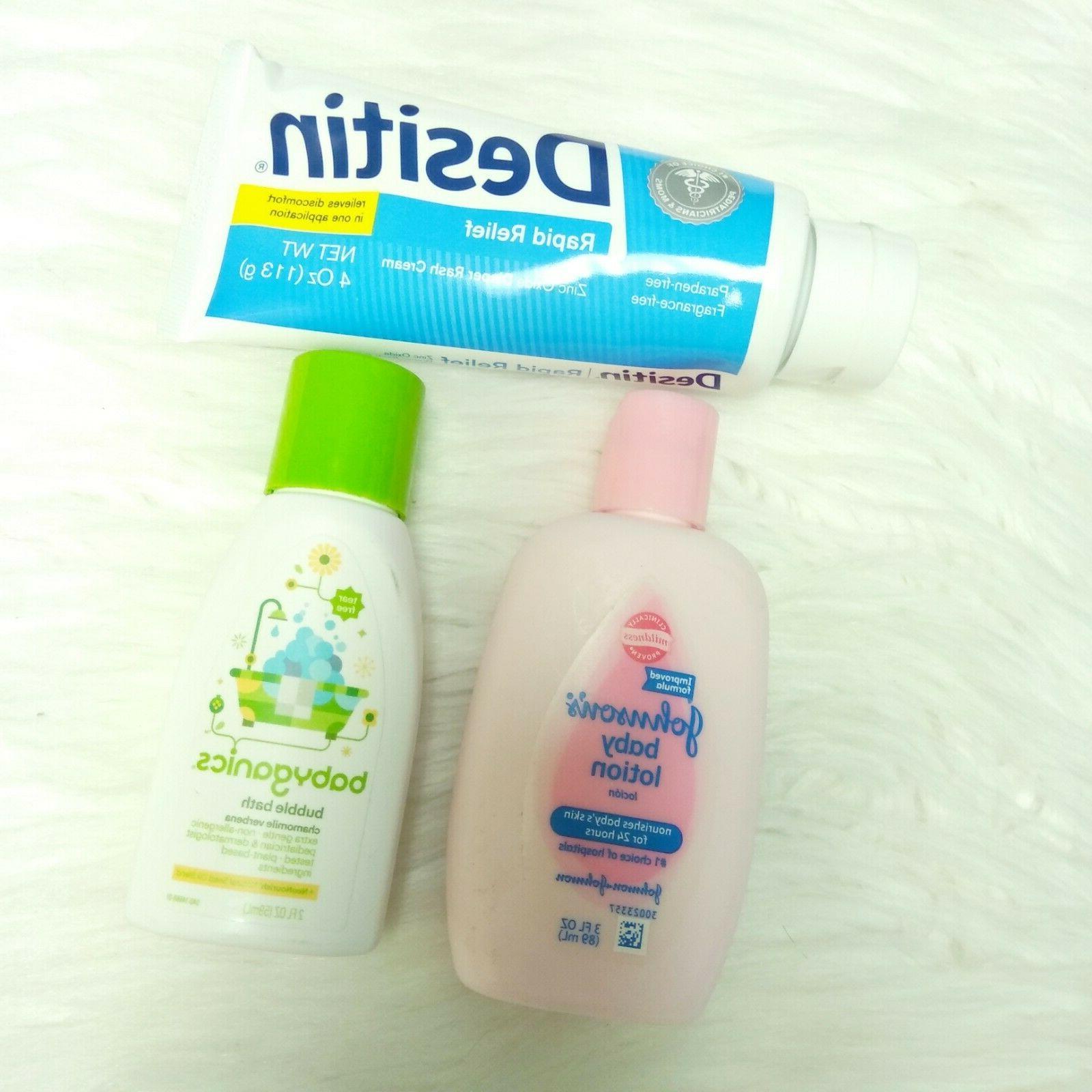 New Baby Lotion, Diaper Rash Cream, 3 BABYGANICS Bath
