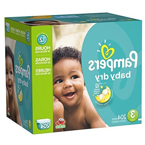 Pampers Baby Dry 3 Diapers Economy Plus Pack 204 Count -
