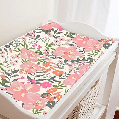 Carousel Designs Pink and Orange Floral Tropic Changing Pad