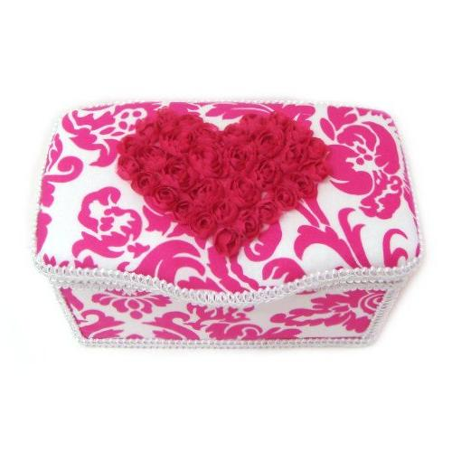 Hot damask hot pink heart 3 piece set baby basket