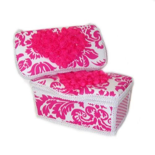 Hot Pink damask 3 piece basket