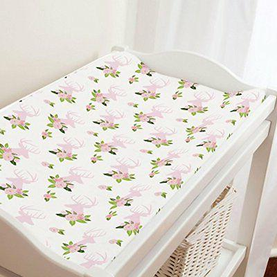 Carousel Designs Pink Floral Deer Head Changing Pad Cover -