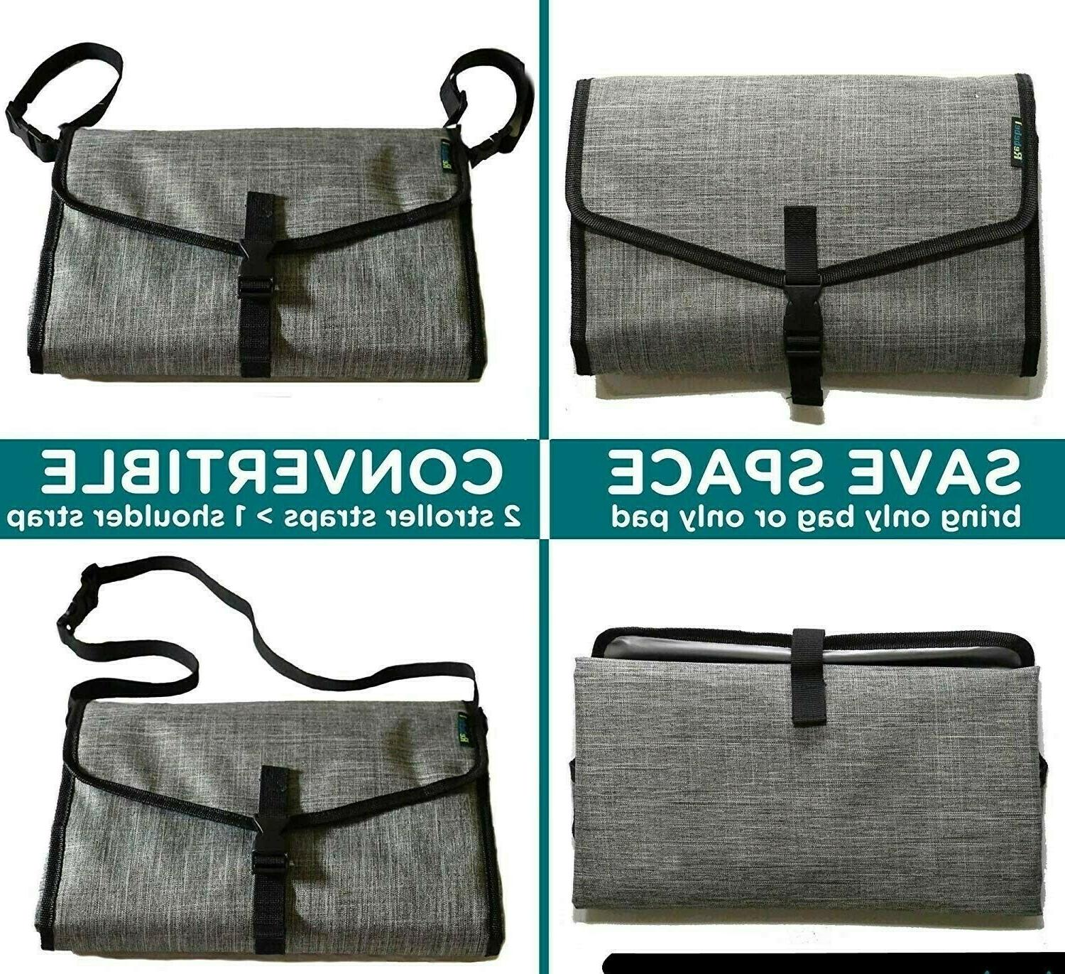 Portable Baby Diapering Changing Pad Station w/ Convertible Straps &