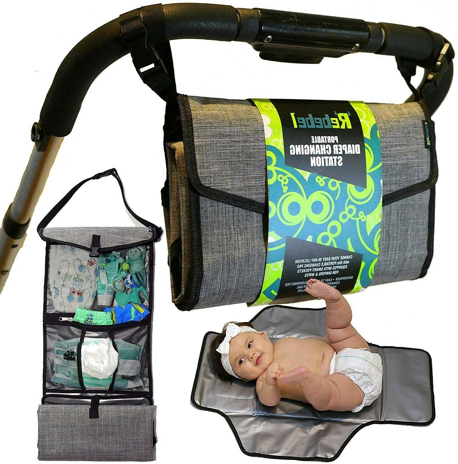 portable baby diapering changing pad station w