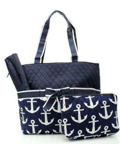 quilted navy and white nautical anchor theme