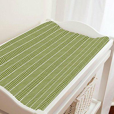 Carousel Designs Sage Herringbone Changing Pad Cover - Organ