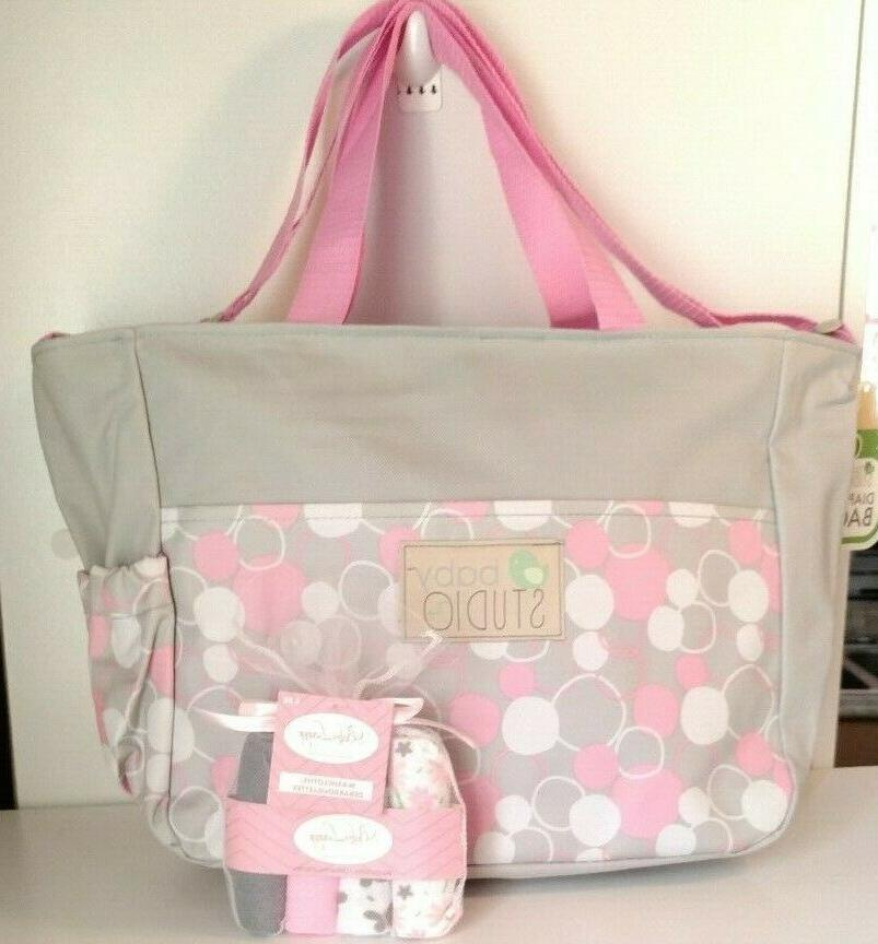Small Girl Diaper Bag Washcloths Accessory Grey Dots