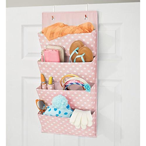 mDesign Soft The Door Hanging Storage Organizer 4 Pockets for or Nursery Fun Polka Included - Light Pink/White Dots