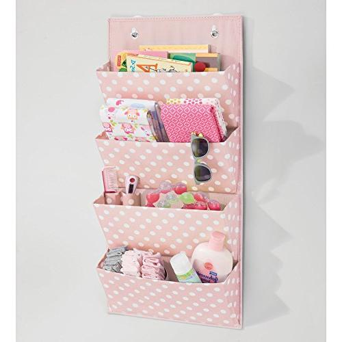 mDesign The Door Hanging Organizer with 4 Large Pockets or - Fun Polka Dot Pattern, Included - Pink/White Dots