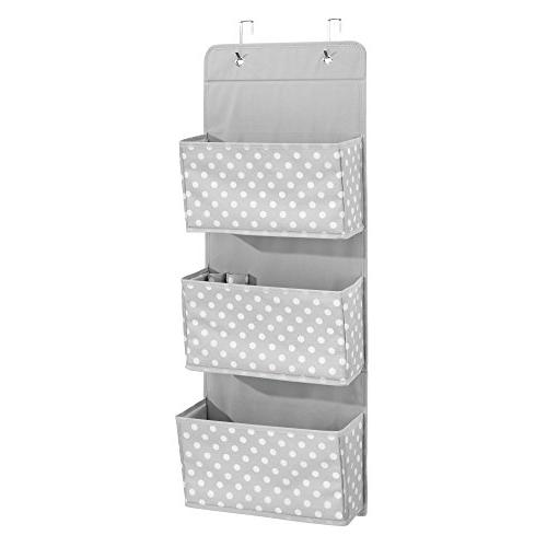 mDesign Soft Fabric Mount/Over Hanging Storage Organizer Pockets for Child/Kids or Nursery - Included Print, - Light Gray with White Dots