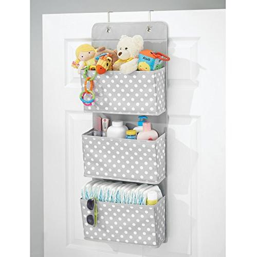 Mount/Over Hanging Organizer - 3 Pockets Child/Kids or - Hooks Included - Polka Print, Light with White Dots