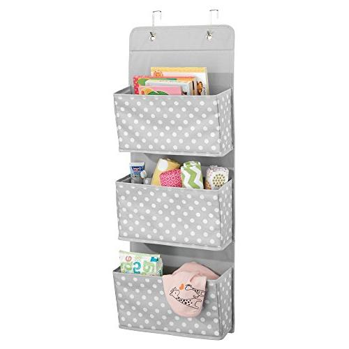 mDesign Soft Fabric Wall Mount/Over Hanging Organizer 3 Large Pockets for Child/Kids Room or Included Polka Dot Print, 2 Light Dots