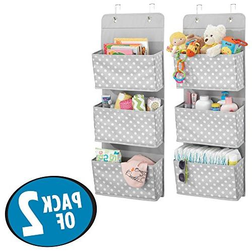 mDesign Mount/Over Door Hanging Organizer - Large Pockets for Room or Nursery Included Print, Pack Light Gray Dots