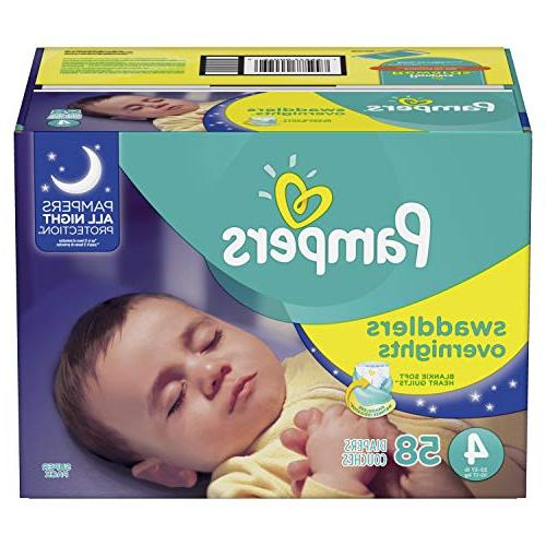 Pampers Swaddlers Overnights Disposable Baby Diapers Size 4,