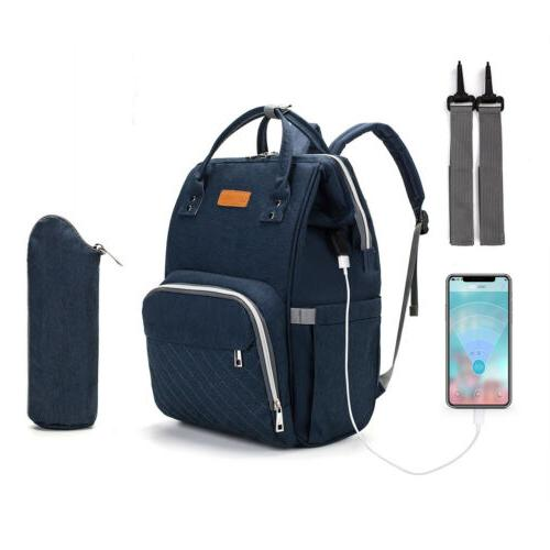 LEQUEEN USB Charge Nappy Backpack Multifunction