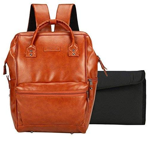 Vegan Leather Backpack Saddle Brown Open Stroller Straps, Multiple Parents