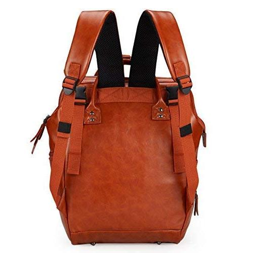 Vegan Leather Baby Diaper Backpack Brown - Wide Open Stroller Straps, Pad, Multiple Parents