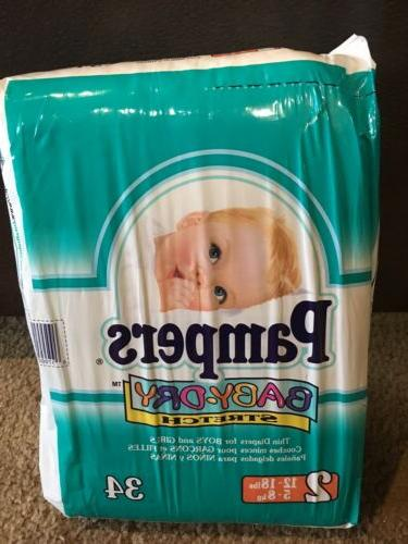 Vintage Pampers Baby Dry Pack Of 34 1997 Back