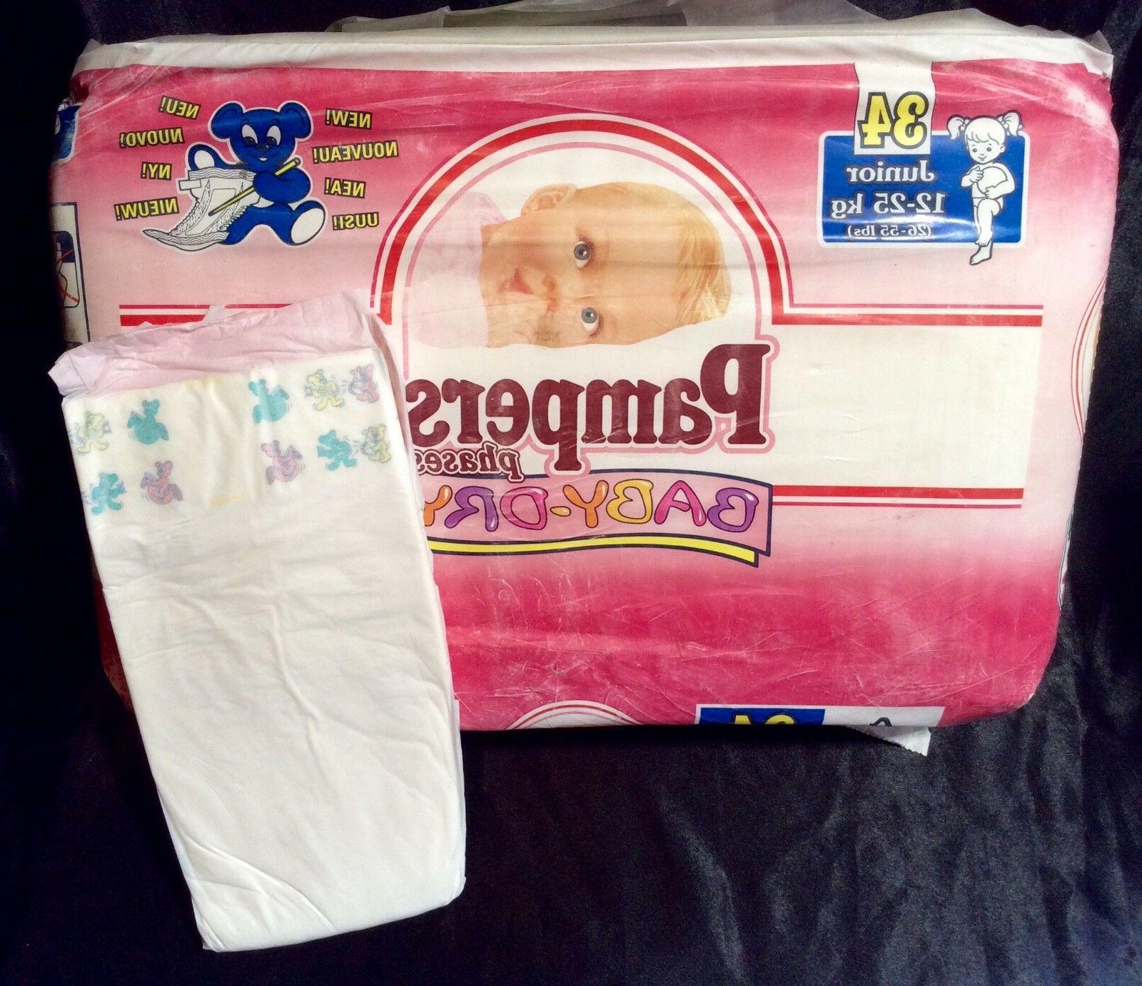 vintage phases baby dry diaper sz junior