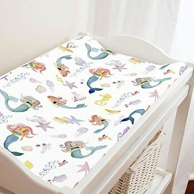 Carousel Designs Watercolor Mermaids Changing Pad Cover - Or