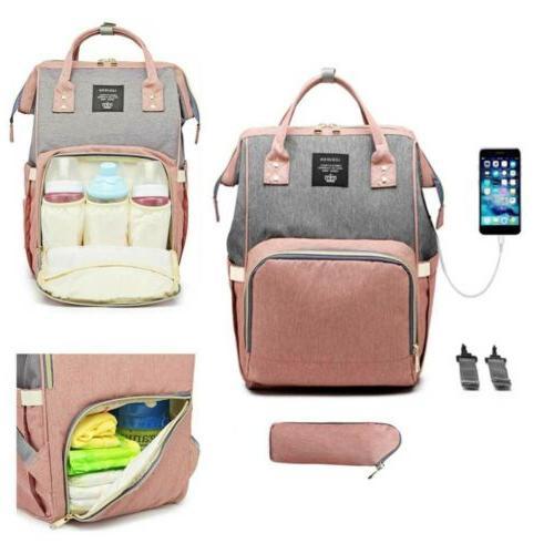 LEQUEEN Waterproof Diaper Bag Travel USB