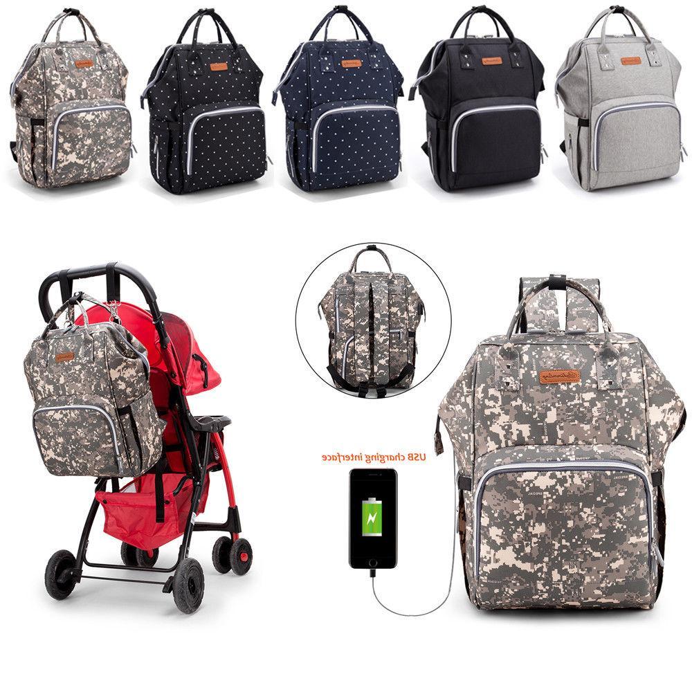 Waterproof Backpack Nappy Diaper Baby Nursing Bag with US