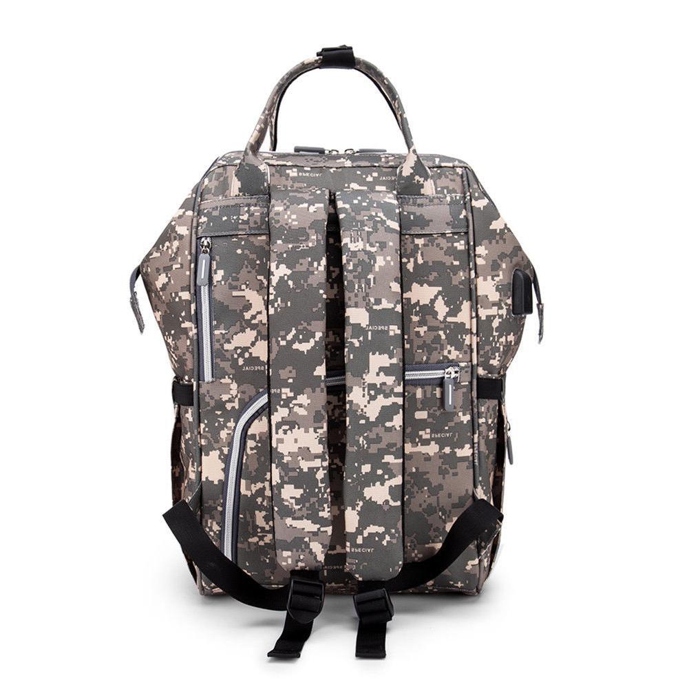 Waterproof Large Backpack Nappy Baby Bag USB US