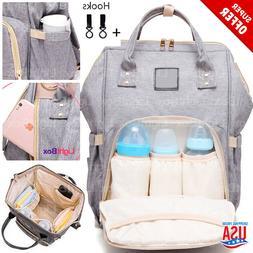Large Baby Diaper Bag Waterproof 3-Bottles Hang-up Stroller