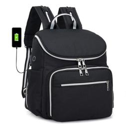 Large Diaper Bag Baby Nappy Travel USB Backpack Insulated Bo
