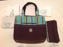 Large DIAPER BAG baby shower gift tote quilted with baby gif