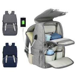 Large Mummy Diaper Bag USB Travel Backpack Waterproof Baby C