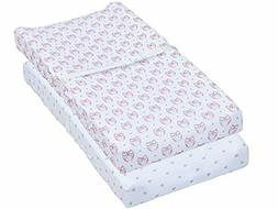 Leakproof Changing Pad Covers, 2 Pack Pink Owl & Heart Fitte