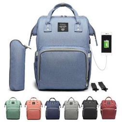 LEQUEEN Multifunctional USB Baby Diaper Backpack Changing Ba