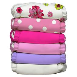 Charlie Banana Lot of 6 Cloth Diapers + 12 Insert Girly Pack