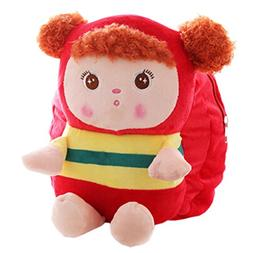Lovely Mousse Stripe Toddler Backpack Infant Villus Knapsack