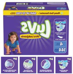 Luvs Disposable Diapers, Size 4  - 144 count, Wet Lock Overn
