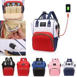 Maternity Nappy Diaper USB Bag Large Capacity Baby Mummy Bag