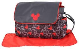 Disney Mickey Mouse Diaper Bag with Flap, Icon Print, Grey/R
