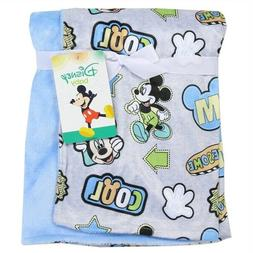 Disney Mickey Mouse Mink and Sherpa Double Sided Infant Blan