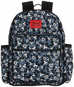 Disney Mickey Mouse Toss Head Print Backpack Diaper Bag, Bla